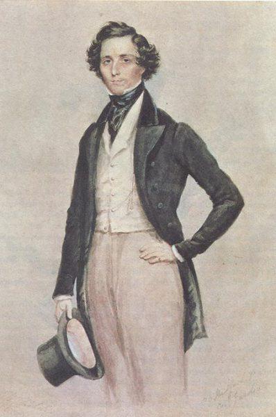Félix Mendelssohn en 1829. Aquarelle de James Warren (musicologie. org)